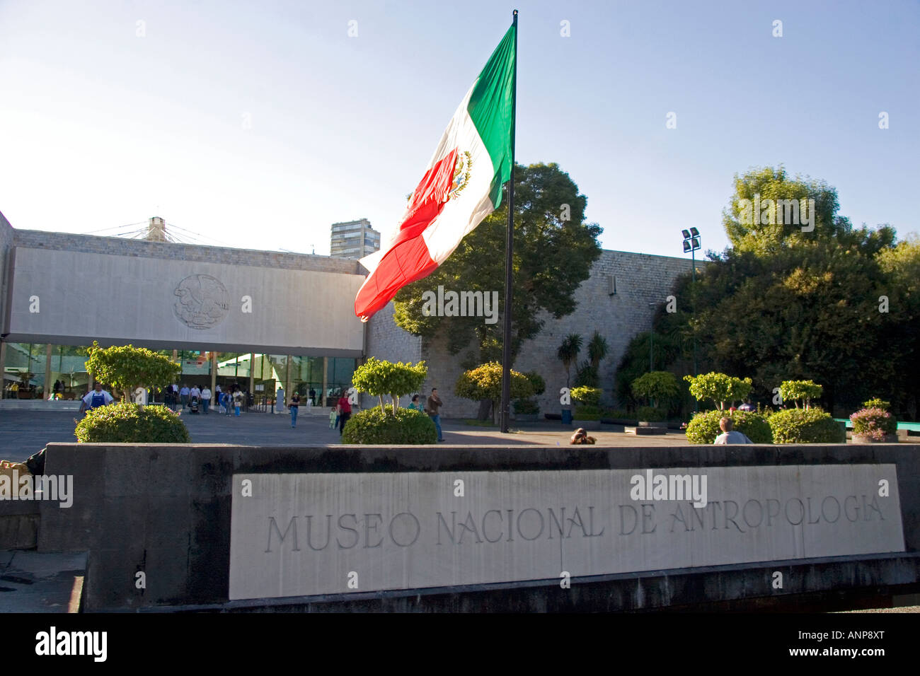 The front entrance to the National Museum of Anthropology in Mexico City Mexico - Stock Image