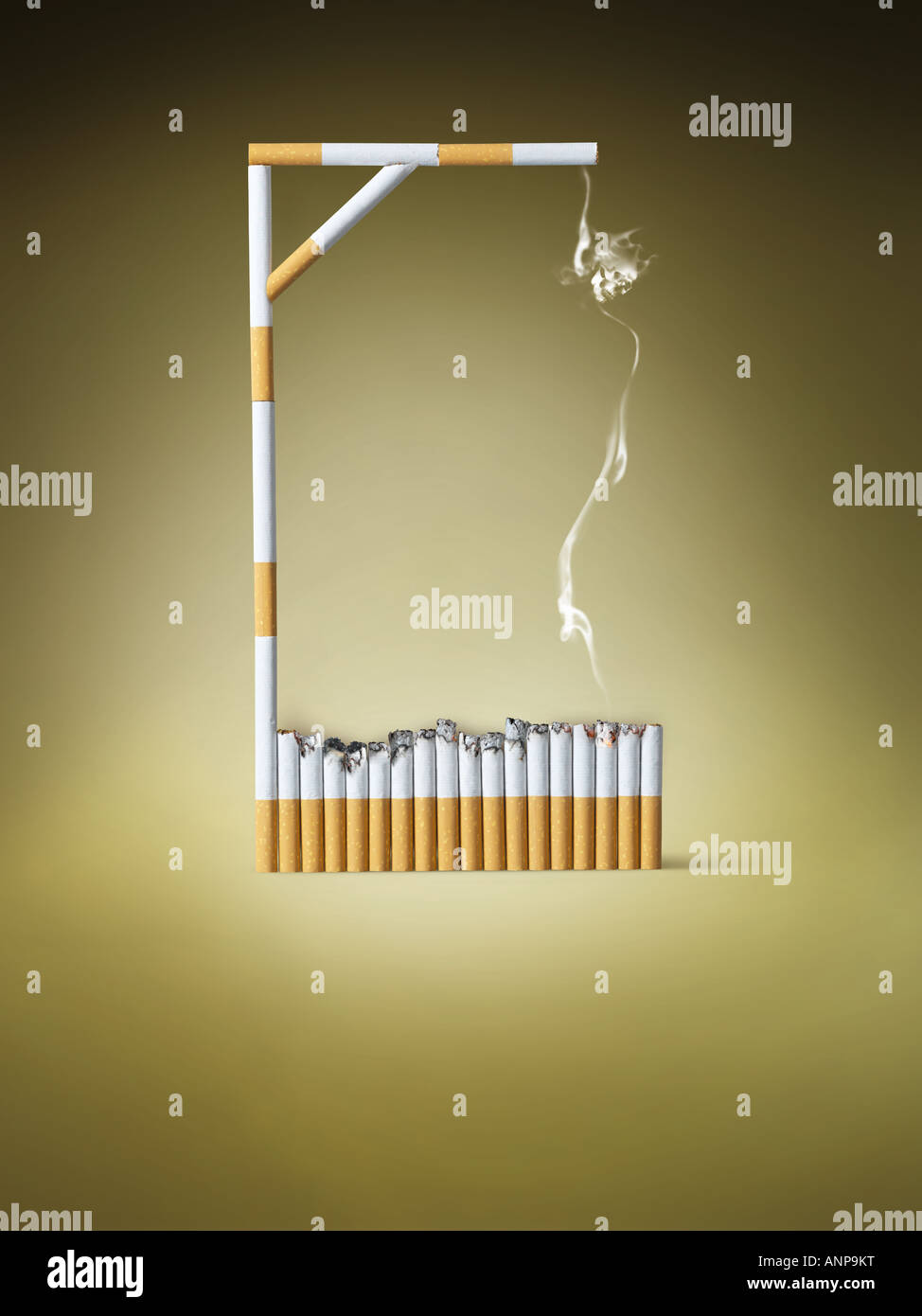 Gallows made of cigarettes - Stock Image