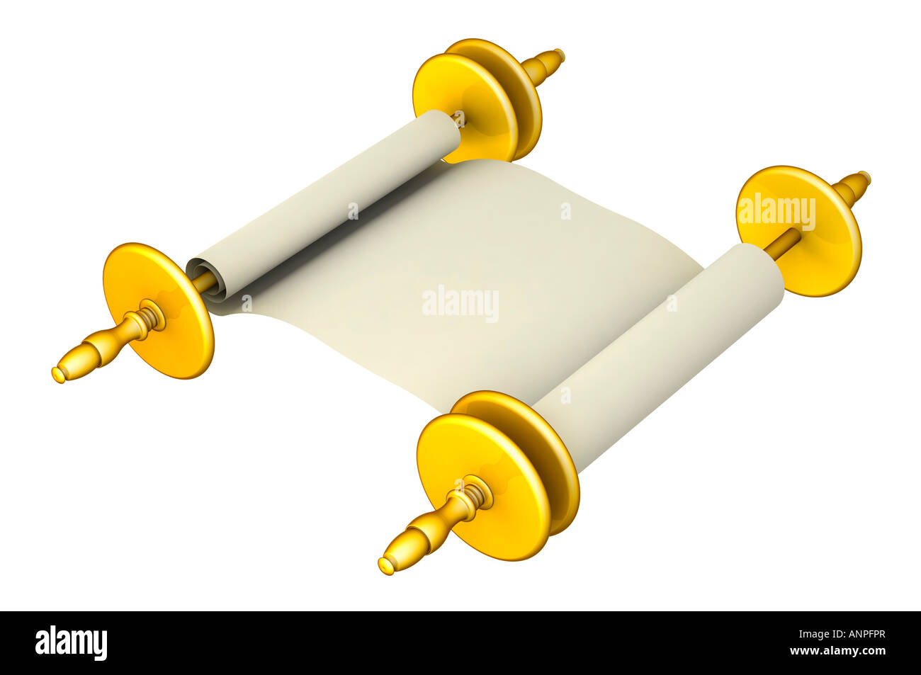 Golden paper scroll - Stock Image