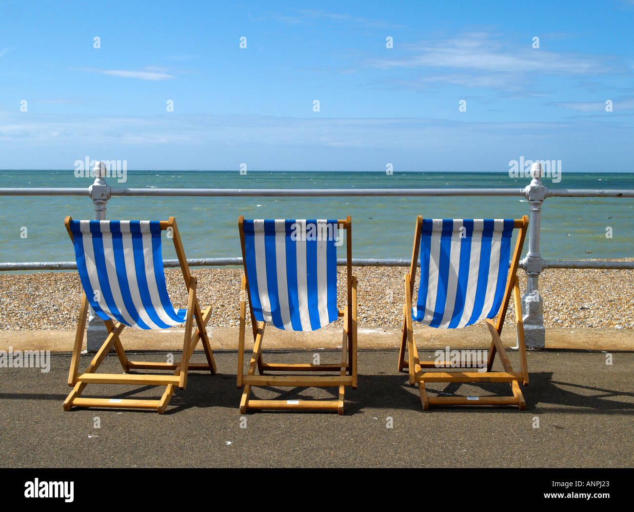 Admirable Three Blue And White Striped Deck Chairs On The Promenade By Caraccident5 Cool Chair Designs And Ideas Caraccident5Info