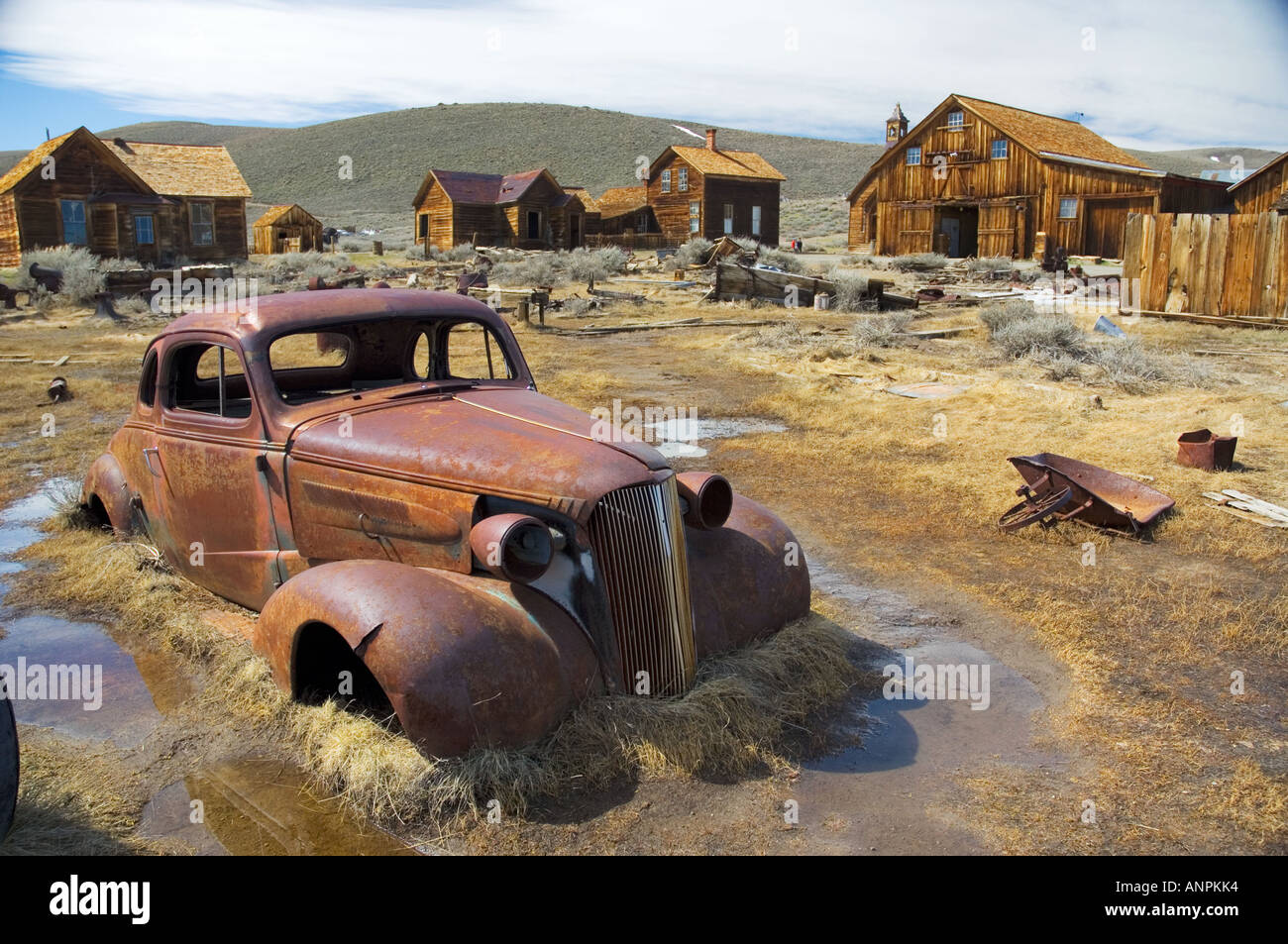 Rusty car in Bodie state historic park, California - Stock Image