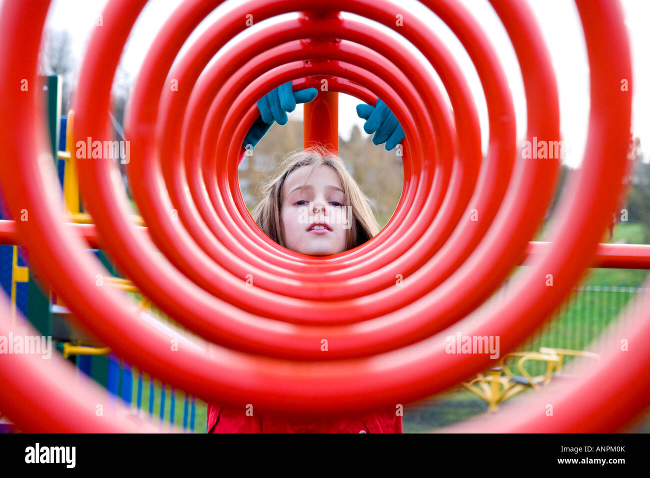 child portrait stylised red tunnel - Stock Image