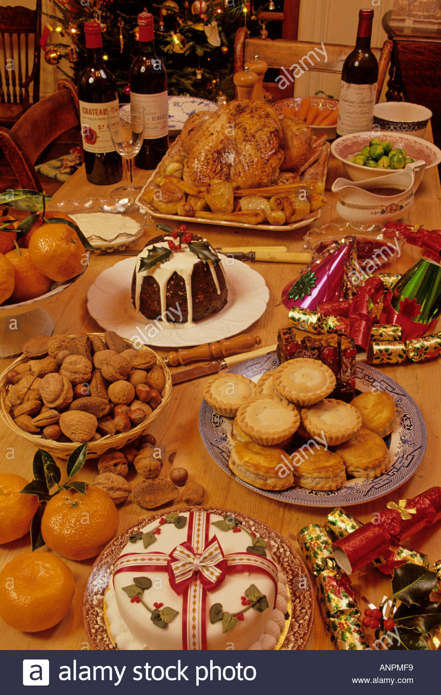 Christmas In England Traditions.A Display Of Traditional Foods Eaten At Christmas Time In