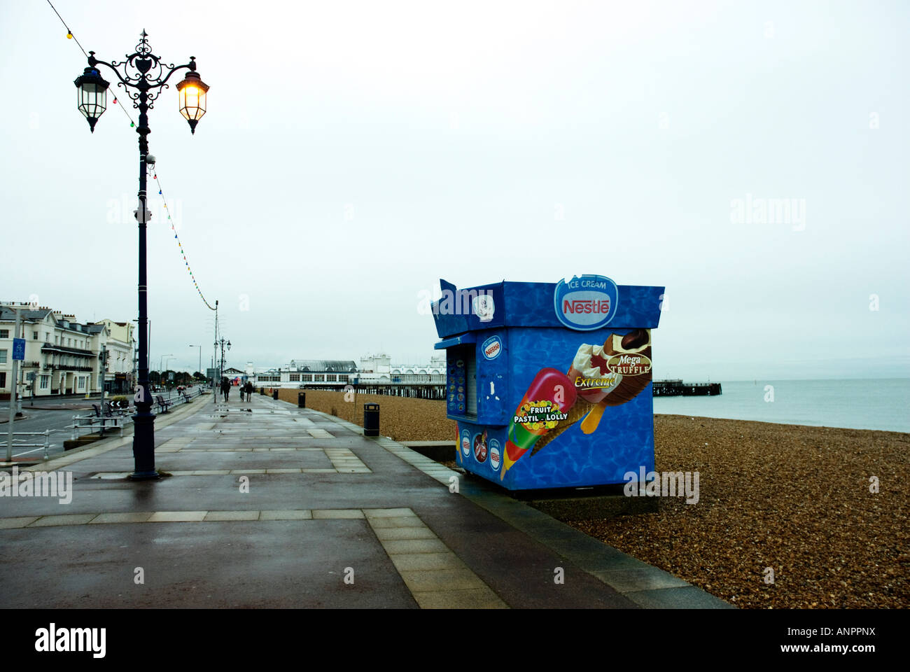Southsea seafront on Christmas Day in afternoon Stock Photo
