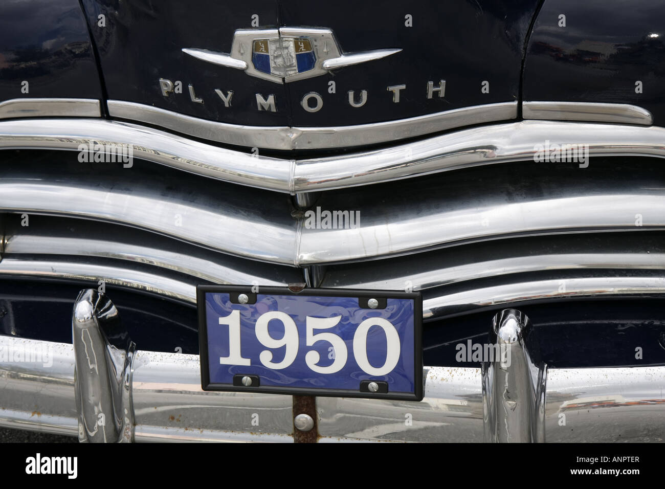1950 Plymouth Classic Car Stock Photos To 1955 Cars Miami Florida Antique Automobile Chrome Front Grill Bumper Image