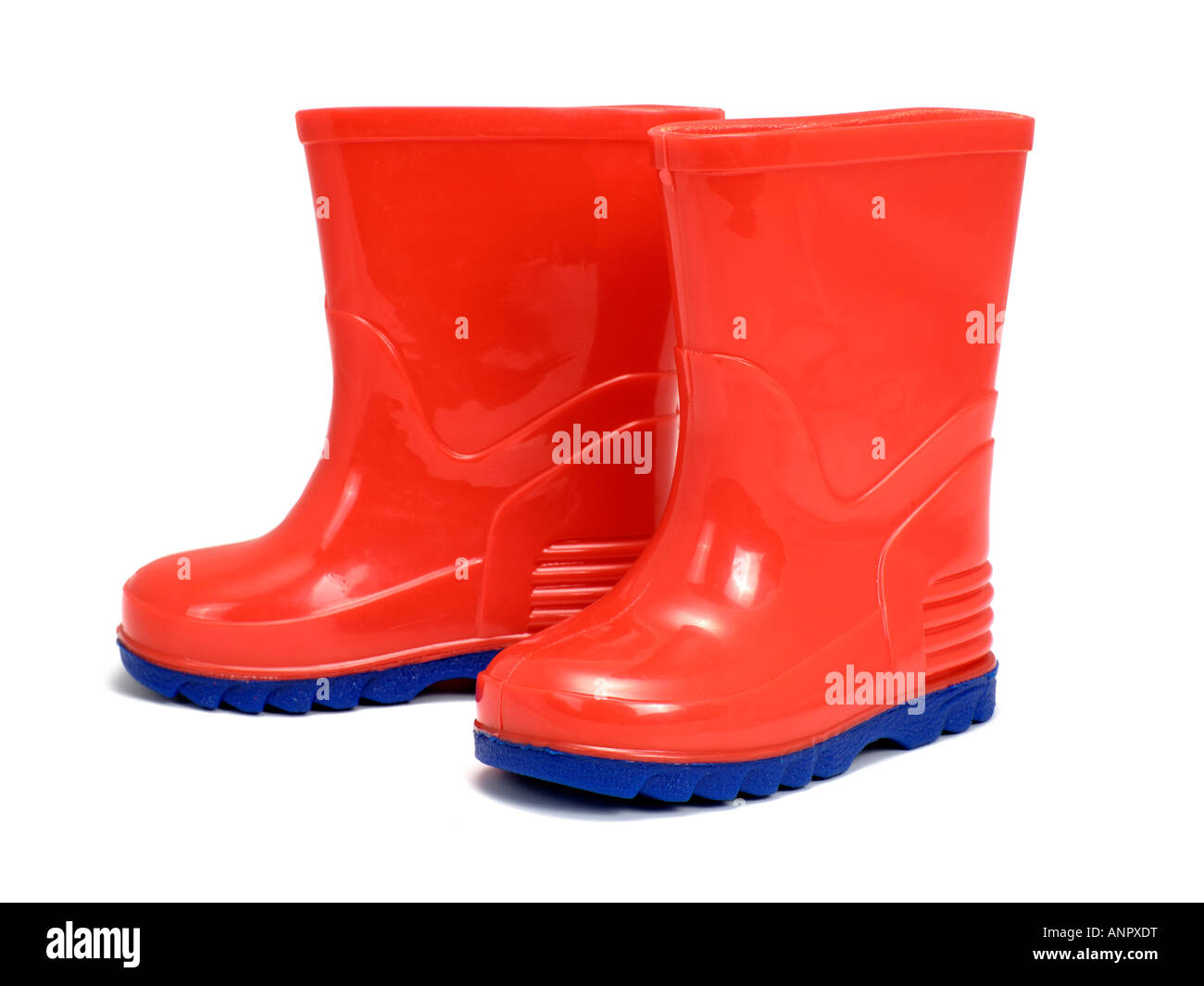 Red gumboots welly Stock Photo