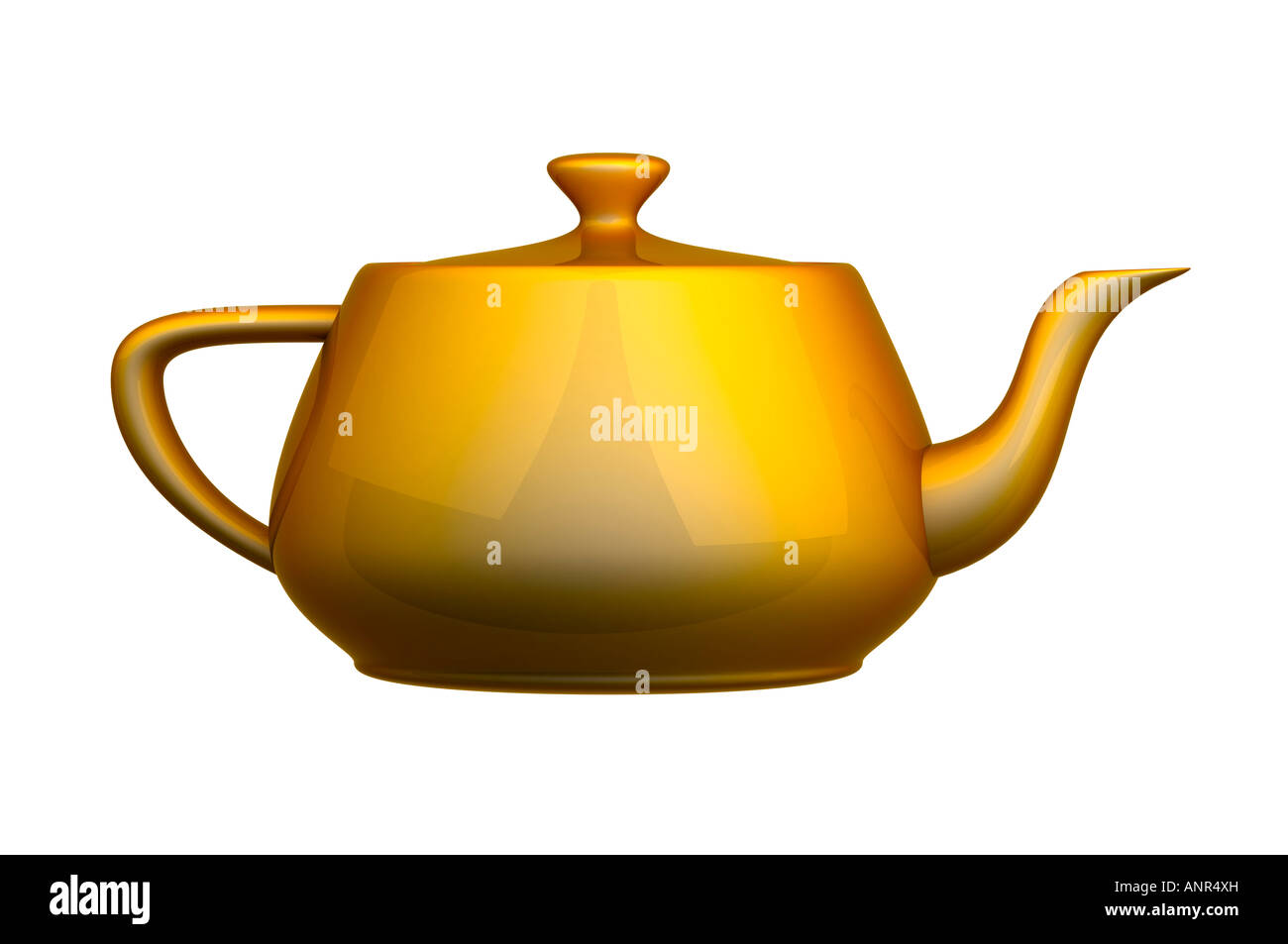 Golden Tea pot kettle - Stock Image