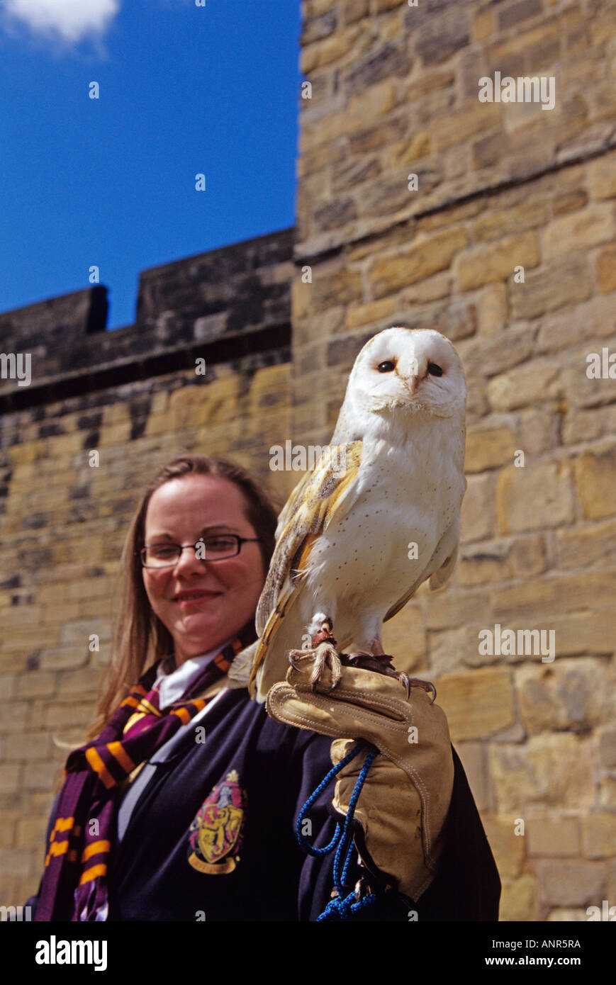 female tour guide dressed as harry potter at alnwick castle in stock