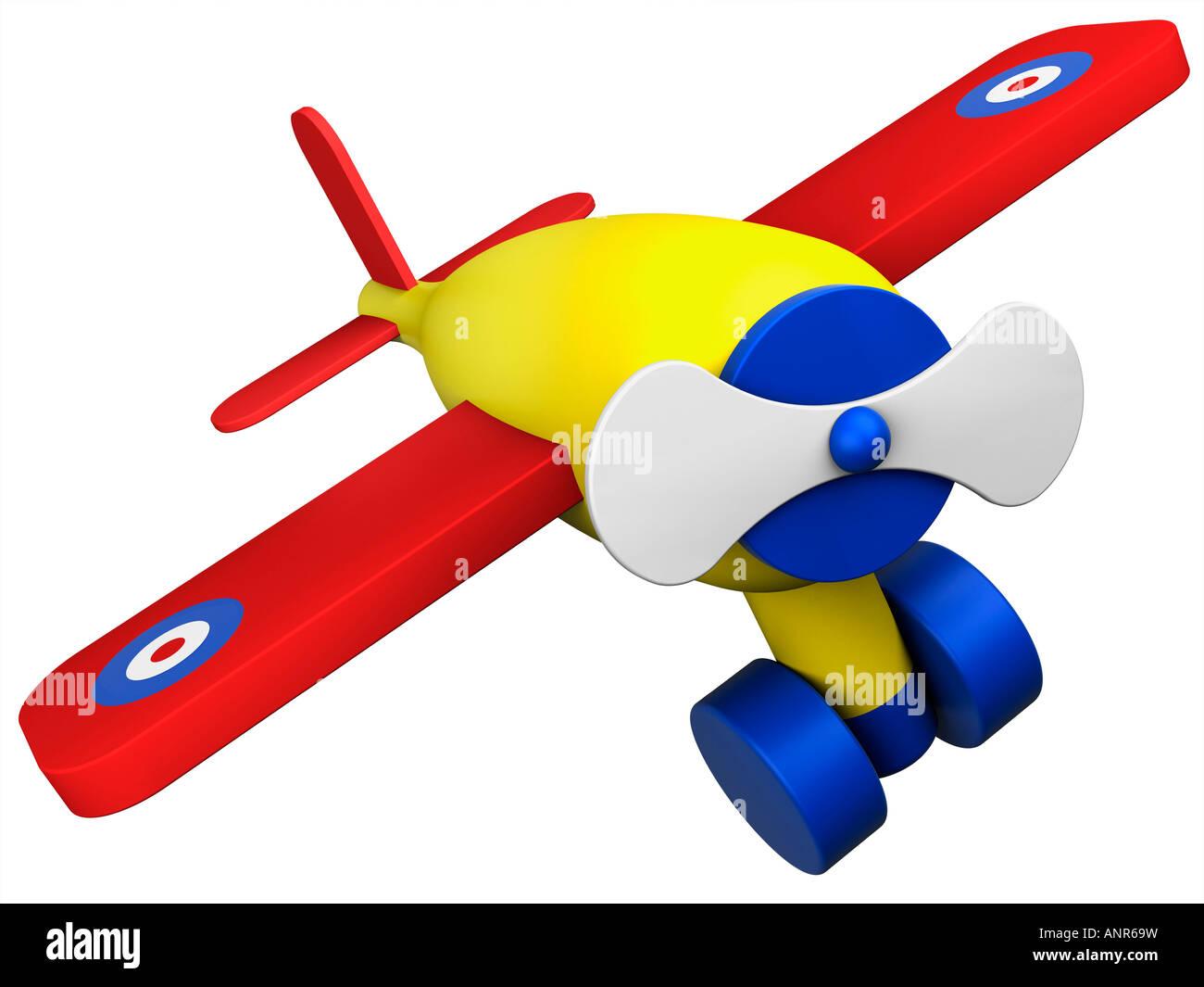 Toy wooden plane aeroplane airplane - Stock Image