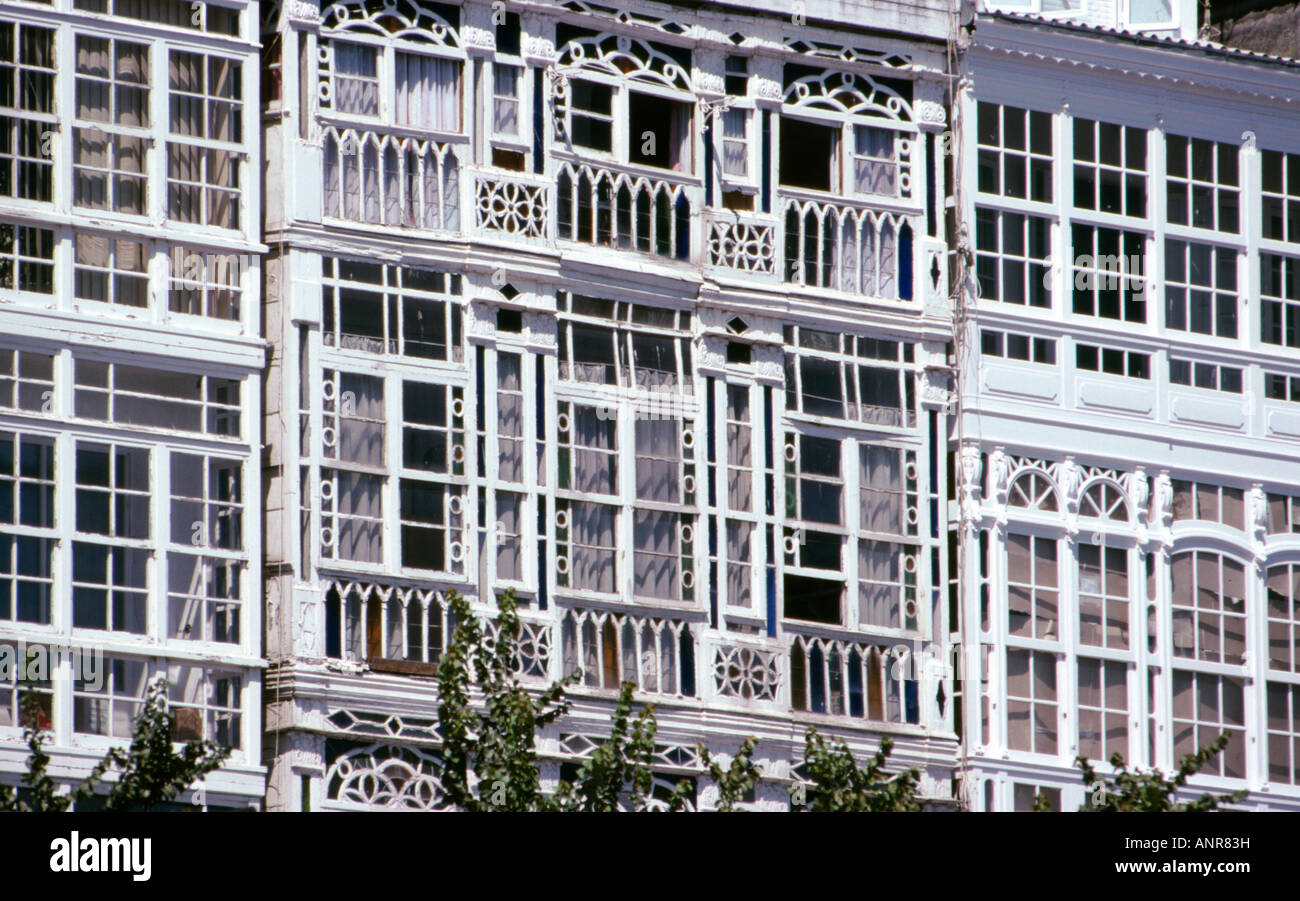 Detail Of The Glassed In Balconies Las Galerias On The Avenida De La Stock Photo Alamy