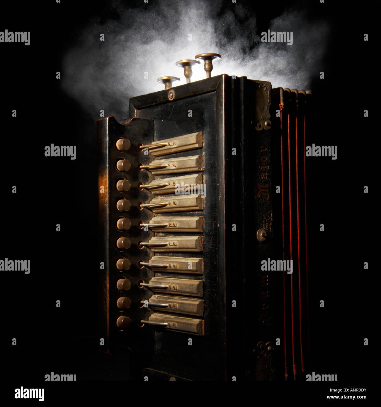 Smoking, melodeon. Stock Photo