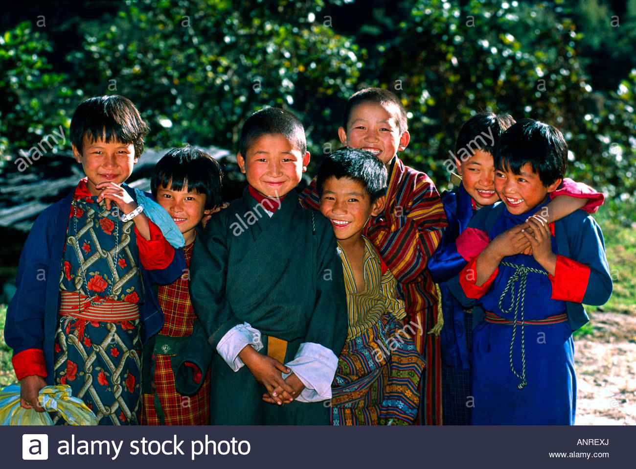 Group of Bhutanese children Lumitsawa Punakha Valley Bhutan - Stock Image