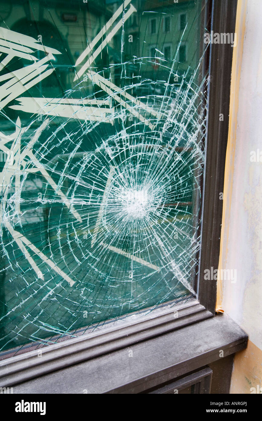 plate glass windows curved glass broken plate glass window in shop prague czech republic stock photo