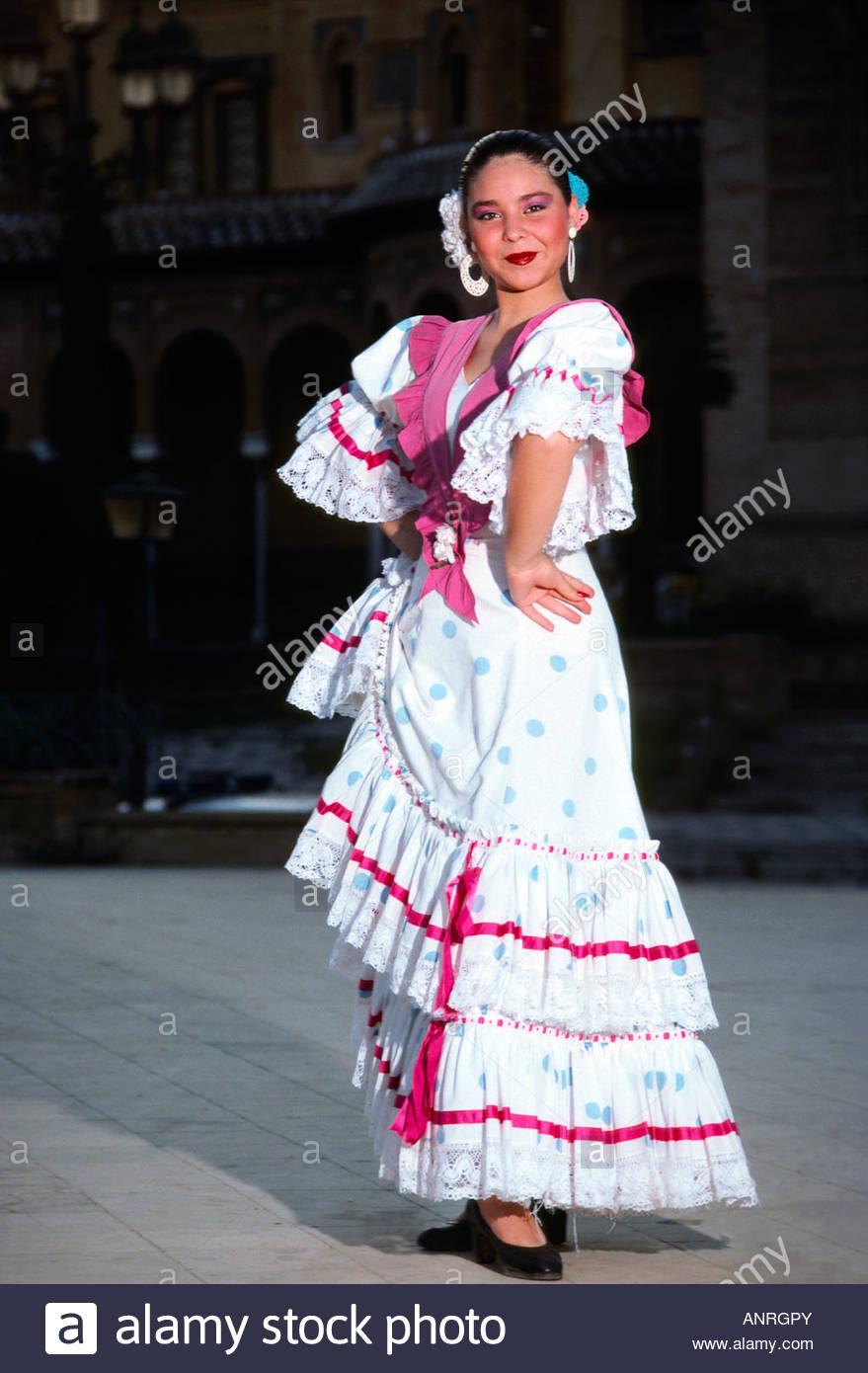 Flamenco dancer Park of Maria Luisa Sevilla Seville Spain - Stock Image
