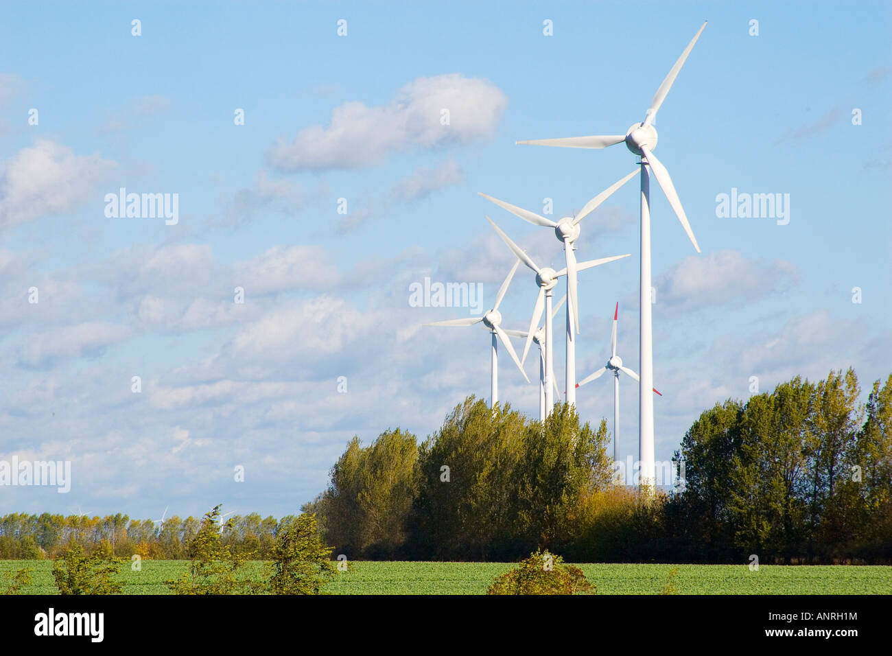 Six wind wheels Stock Photo