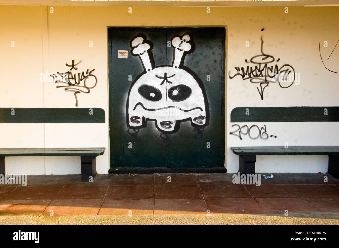 Street Graffitti Newquay Cornwall - Stock Image
