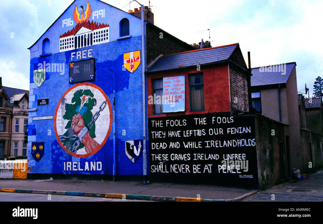 Belfast Northern Ireland Falls Road Wall Motifs On Conflict - Stock Image