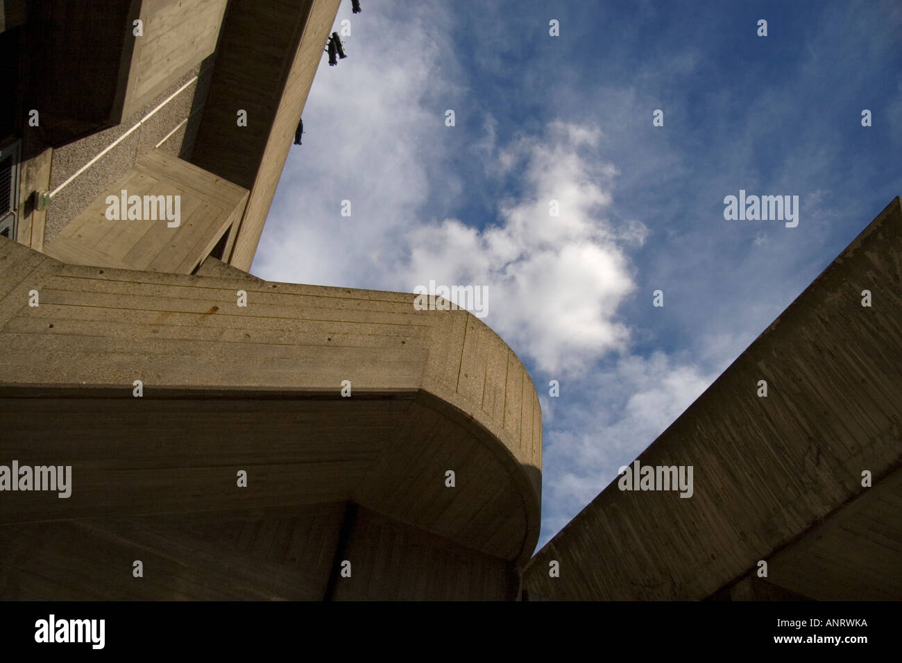 an abstract view of the brutalist concrete forms of the South bank Centre in London - Stock Image