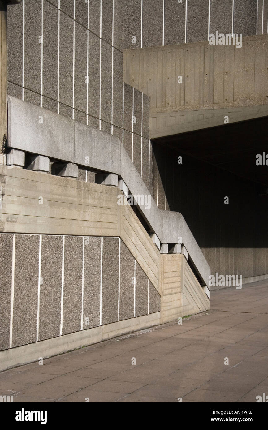 an abstract view of steps on the brutalist concrete forms of the South bank Centre in London - Stock Image