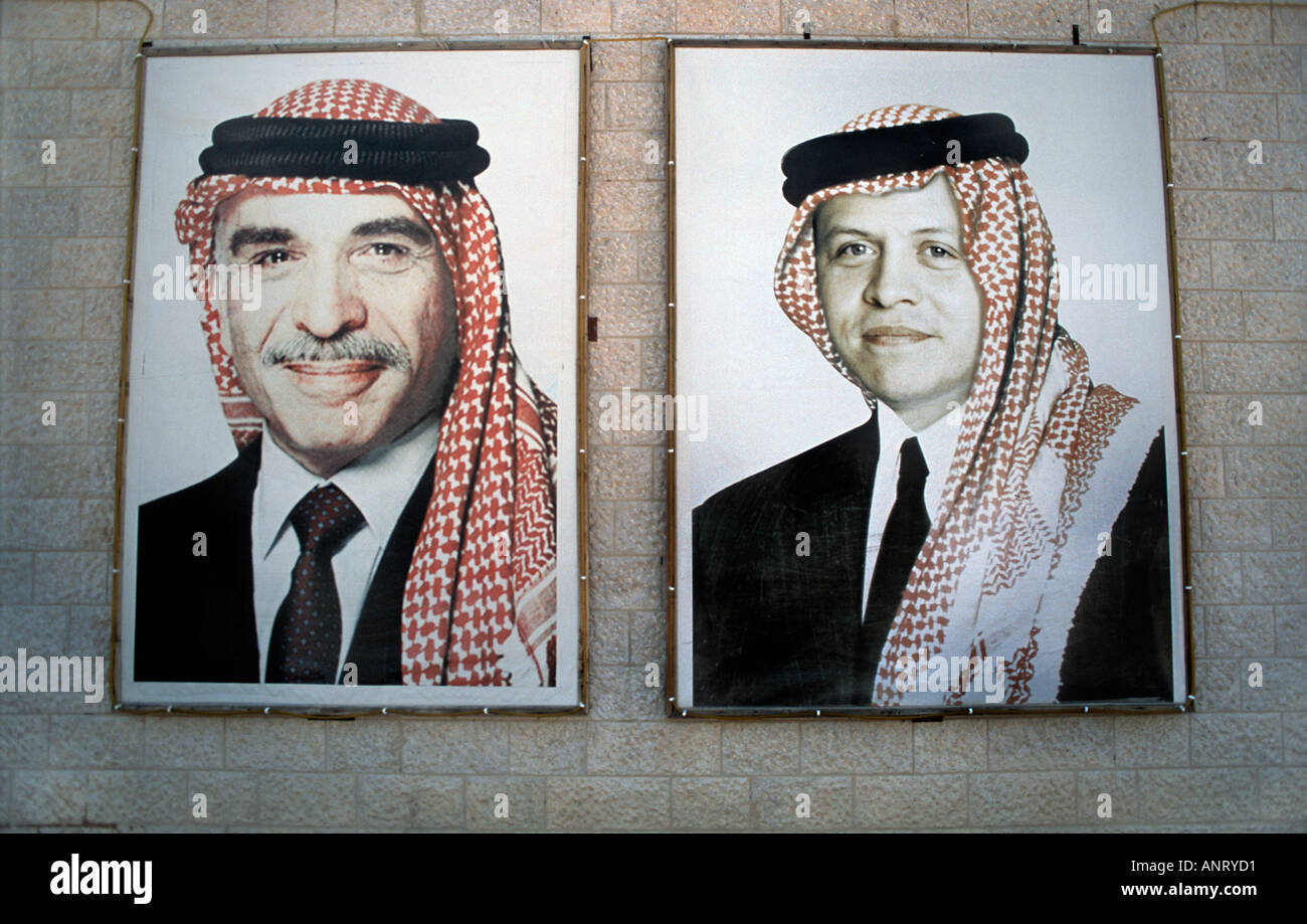 Wall hung portraits of the Kings Hussein and Abdullha Jordan Public posters of this kind are commonplace - Stock Image