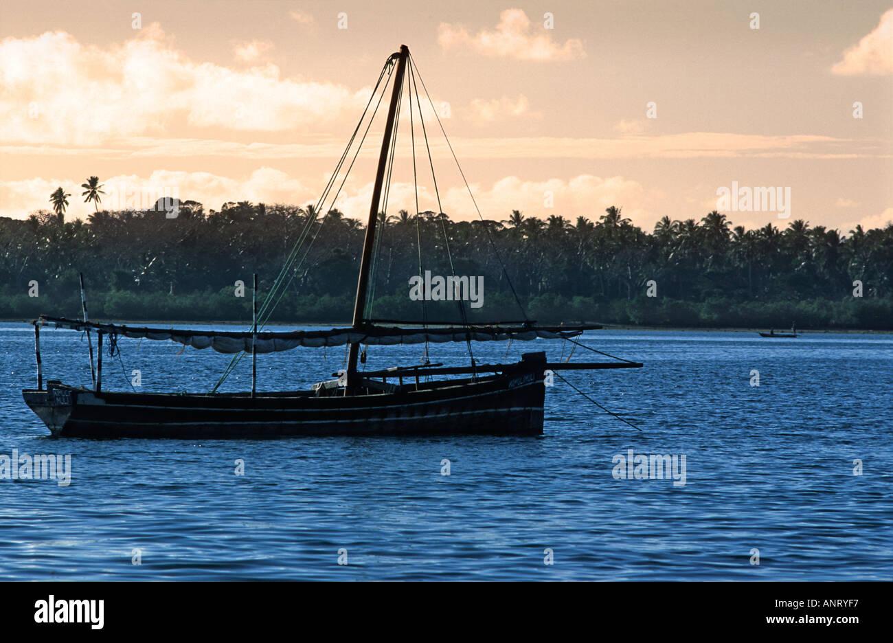 Dhow anchored at Utende in the straits between Chole and Mafia islands S of Zanzibar TANZANIA - Stock Image