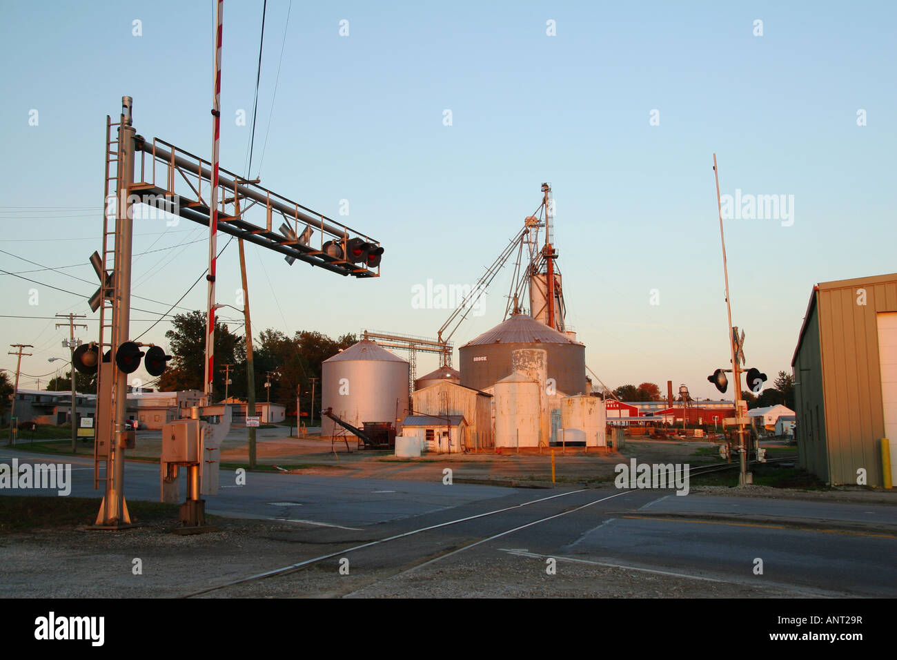 Baltimore and Ohio Rail Road Crossing Grain Storage Wooster Ohio - Stock Image