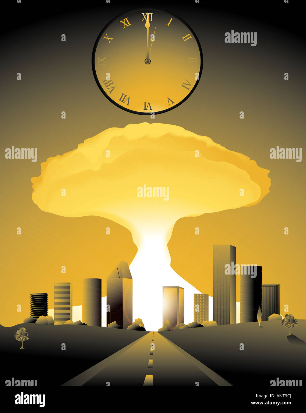 doomsday with a nuclear bomb going off in a city and clock striking midnight - Stock Image