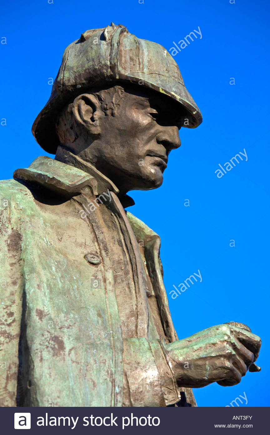 Sherlock Holmes statue, in memory of the Scottish author and creator of the character, Sir Arthur Conan Doyle 1859 - Stock Image