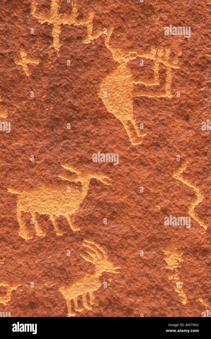 petroglyphs Village of the Great Kivas Zuni Pueblo Indian Reservation New Mexico Stock Photo