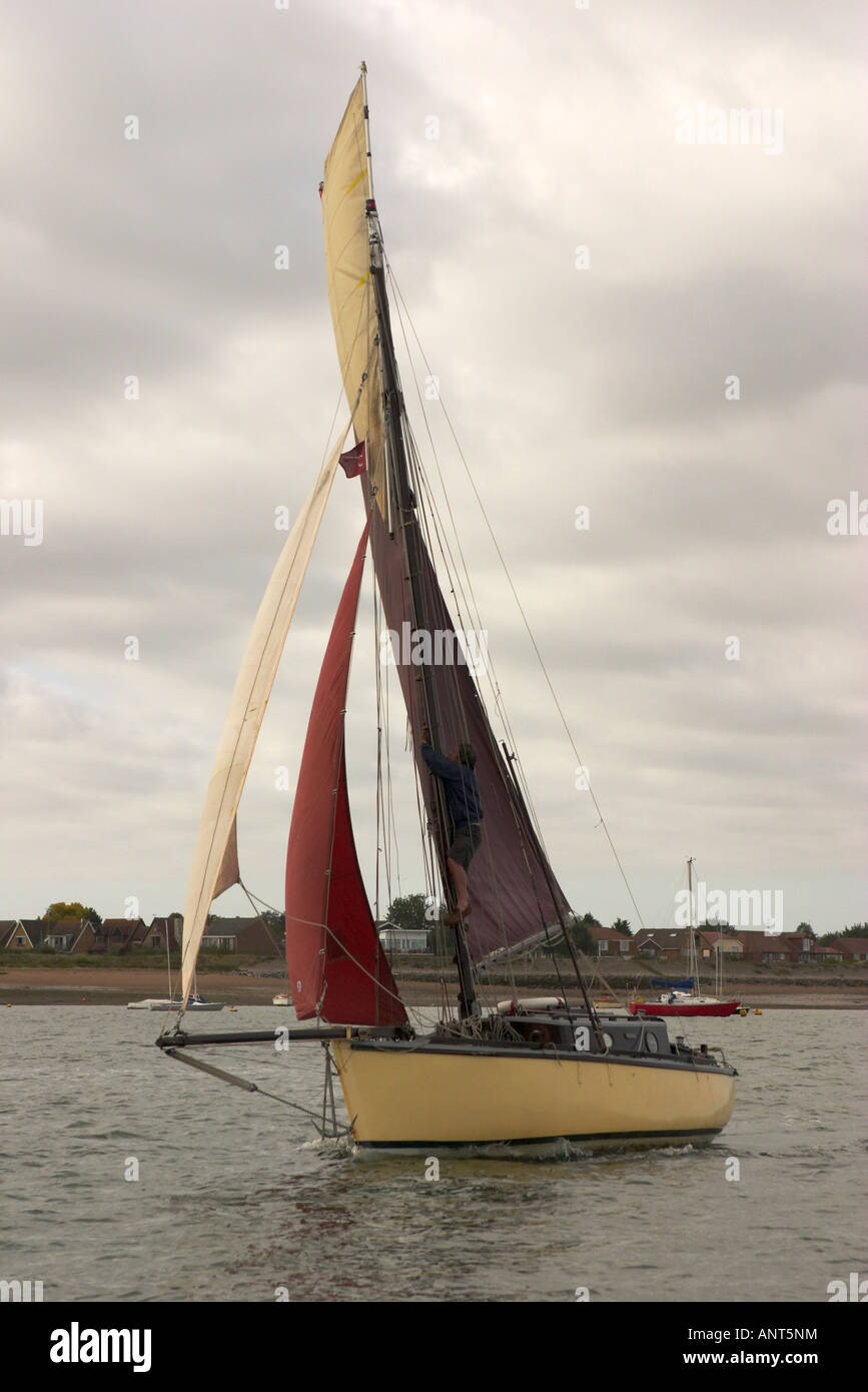 Traditional Gaff Rigged Sailing Boat or Smack - Stock Image