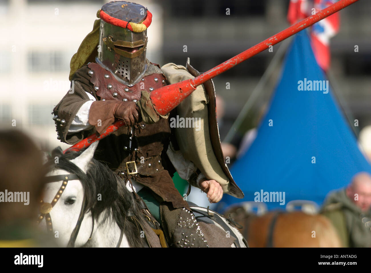 The joust. A knight in full flight. One of the Knights of Nottingham, Medieval re-enactors. Robin Hood Pageant, - Stock Image