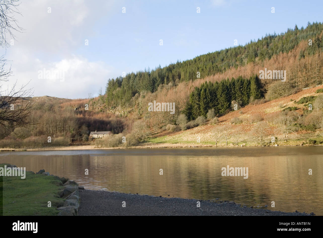 TREFRIW CONWY NORTH WALES UK Looking across Llyn Geirionydd towards a lake side farmhouse Snowdonia National Park - Stock Image