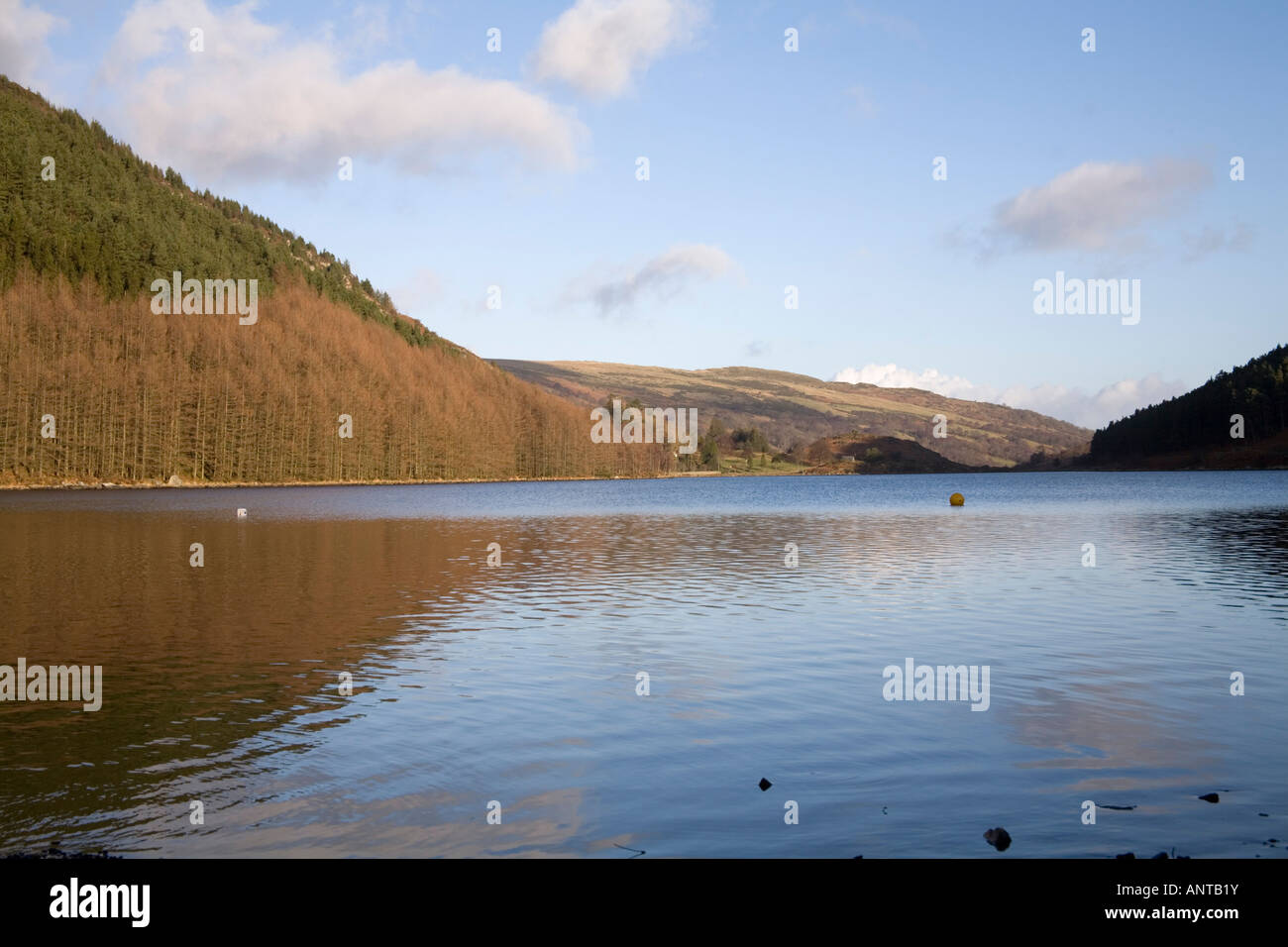 TREFRIW CONWY NORTH WALES UK Looking across Llyn Geirionydd on a lovely calm winters day Snowdonia National Park - Stock Image
