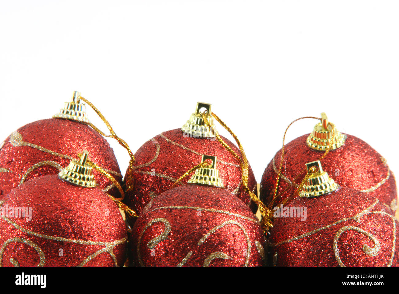 six red christmas decoration balls isolated on white background wiyh copy space Stock Photo