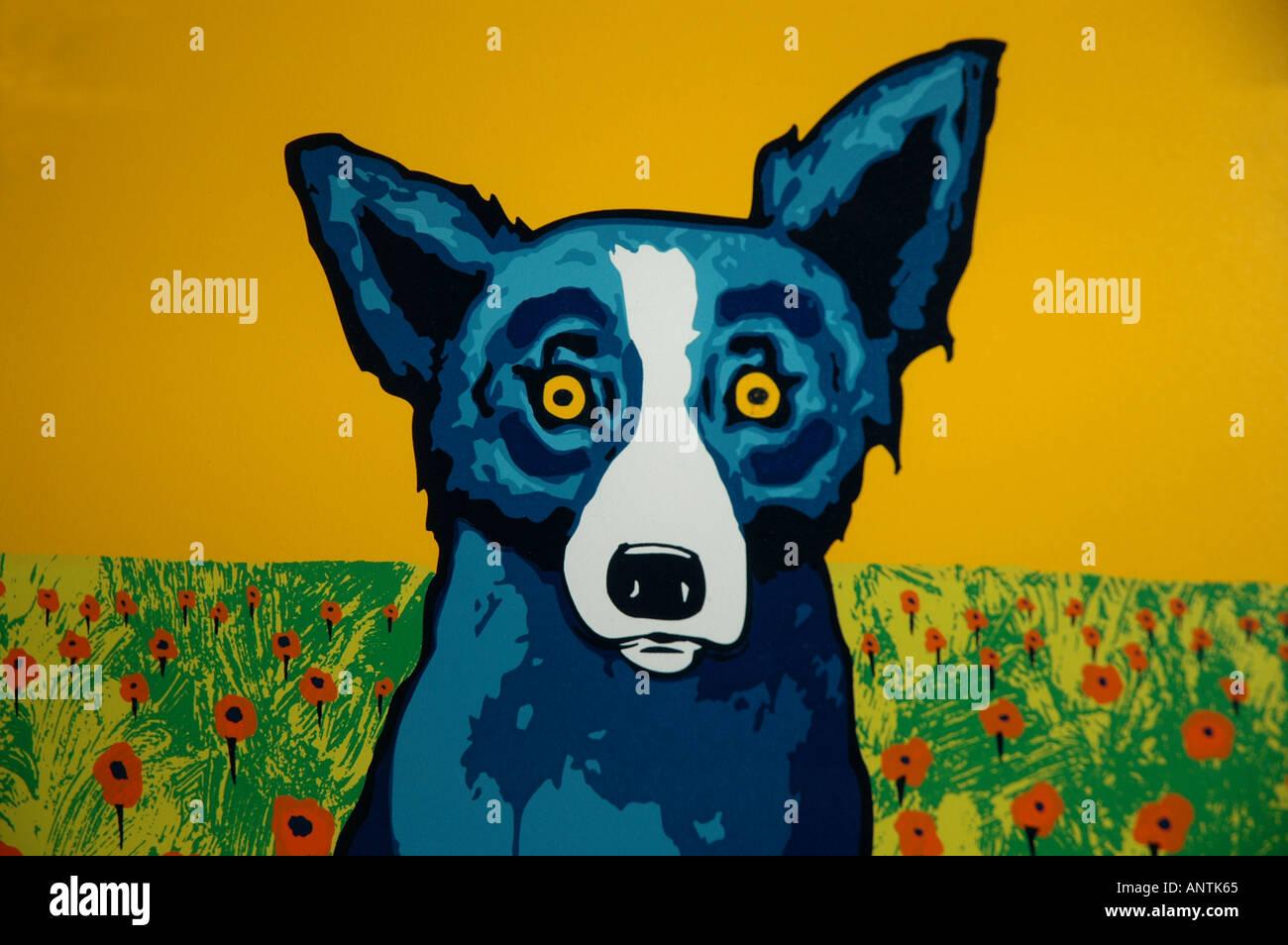Louisiana la Lafayette Blue Dog Cafe painting - Stock Image