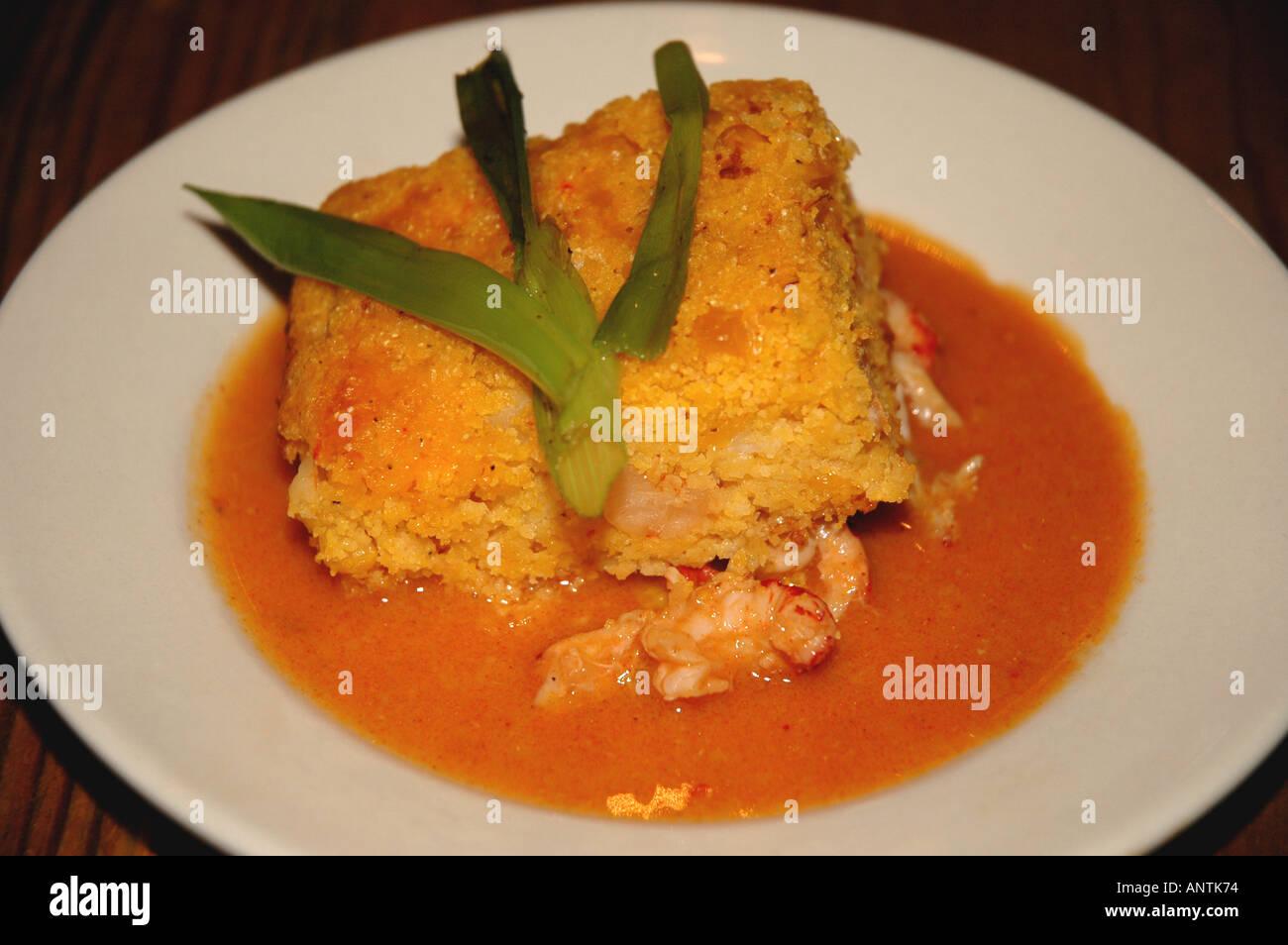 Louisiana Lafayette cajun country cooking cuisine acadiana crawfish cornbread - Stock Image
