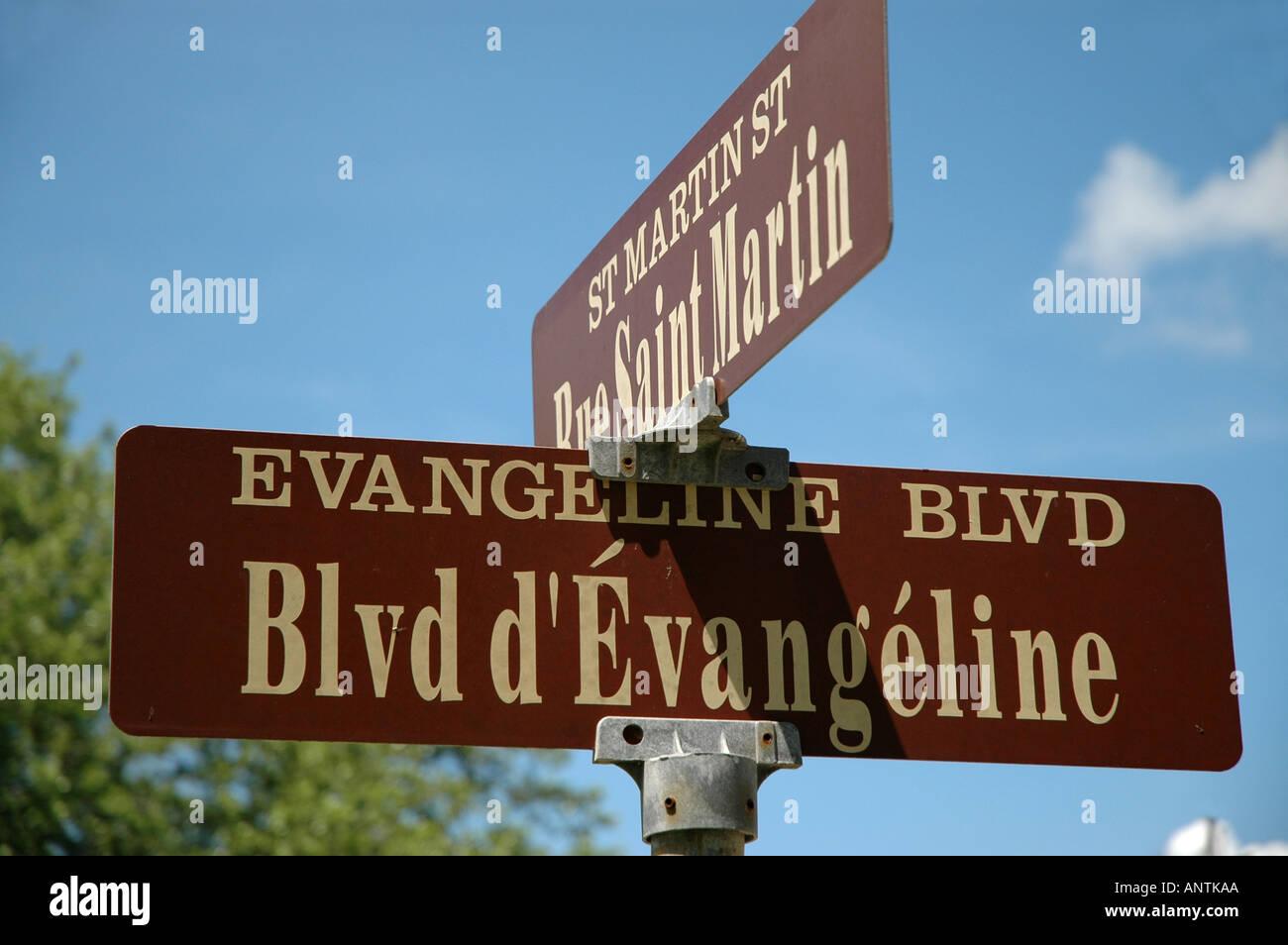 LOUISIANA Evangeline Blvd sign st martinsville Henry Wadsworth Longfellow poem - Stock Image