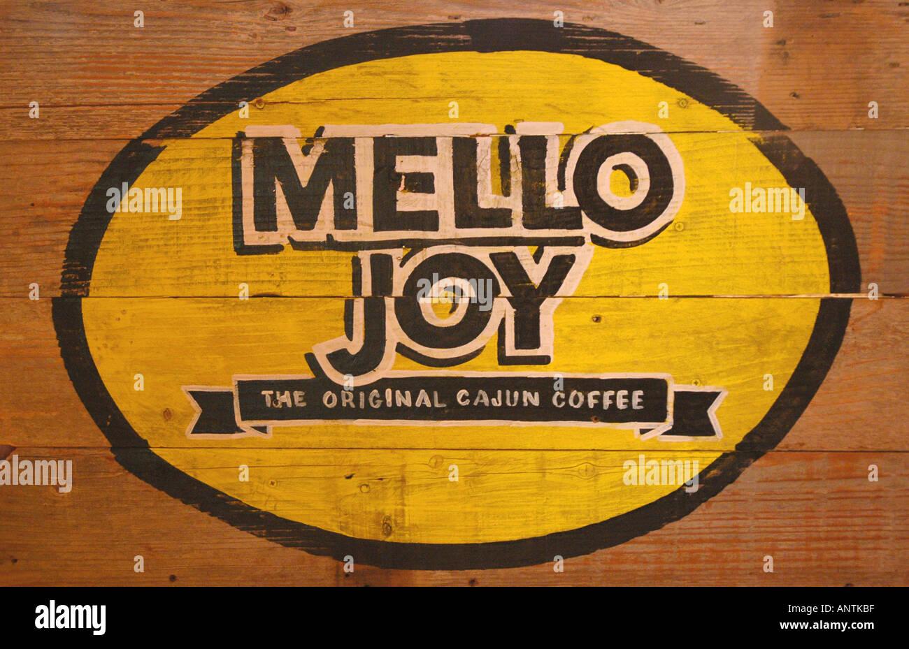 Louisiana la Lafayette cajun country cooking cuisine acadiana mello joy the original cajun coffee wooden sign - Stock Image