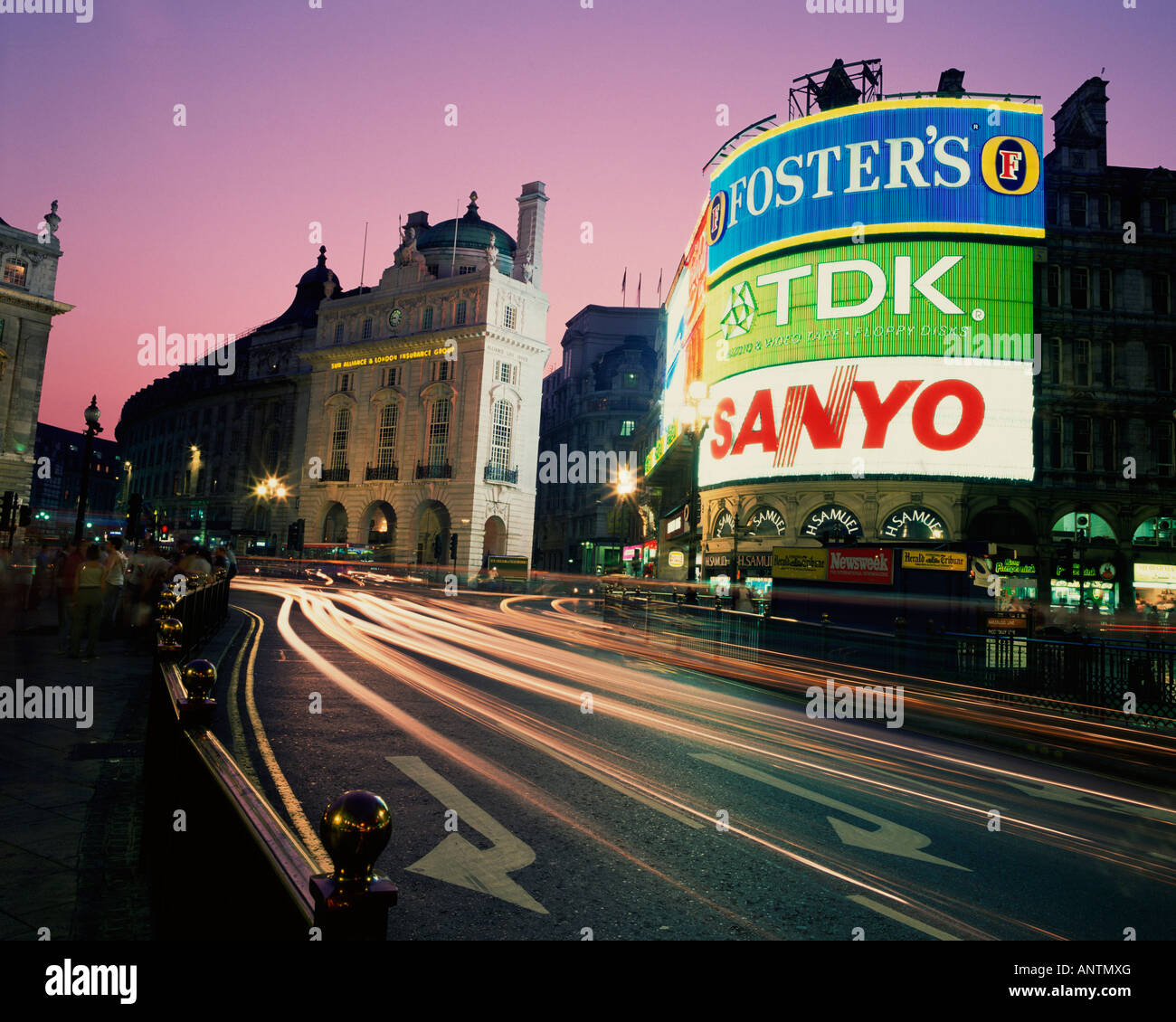 Piccadilly Circus London at night United Kingdom Great Britain - Stock Image