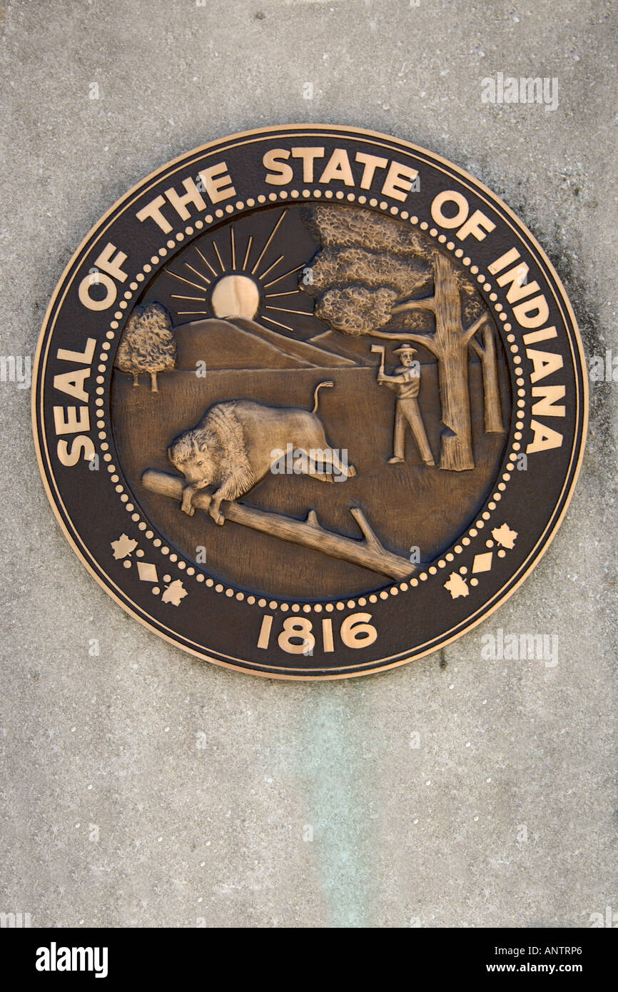The State Seal Of Indiana In Indianapolis In Stock Photo Alamy