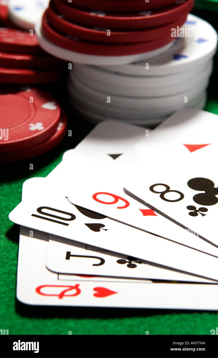 A Straight poker hand. - Stock Image