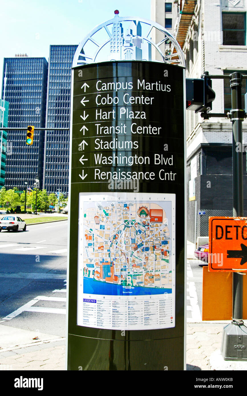 Tourist information Map and information board in downtown Detroit