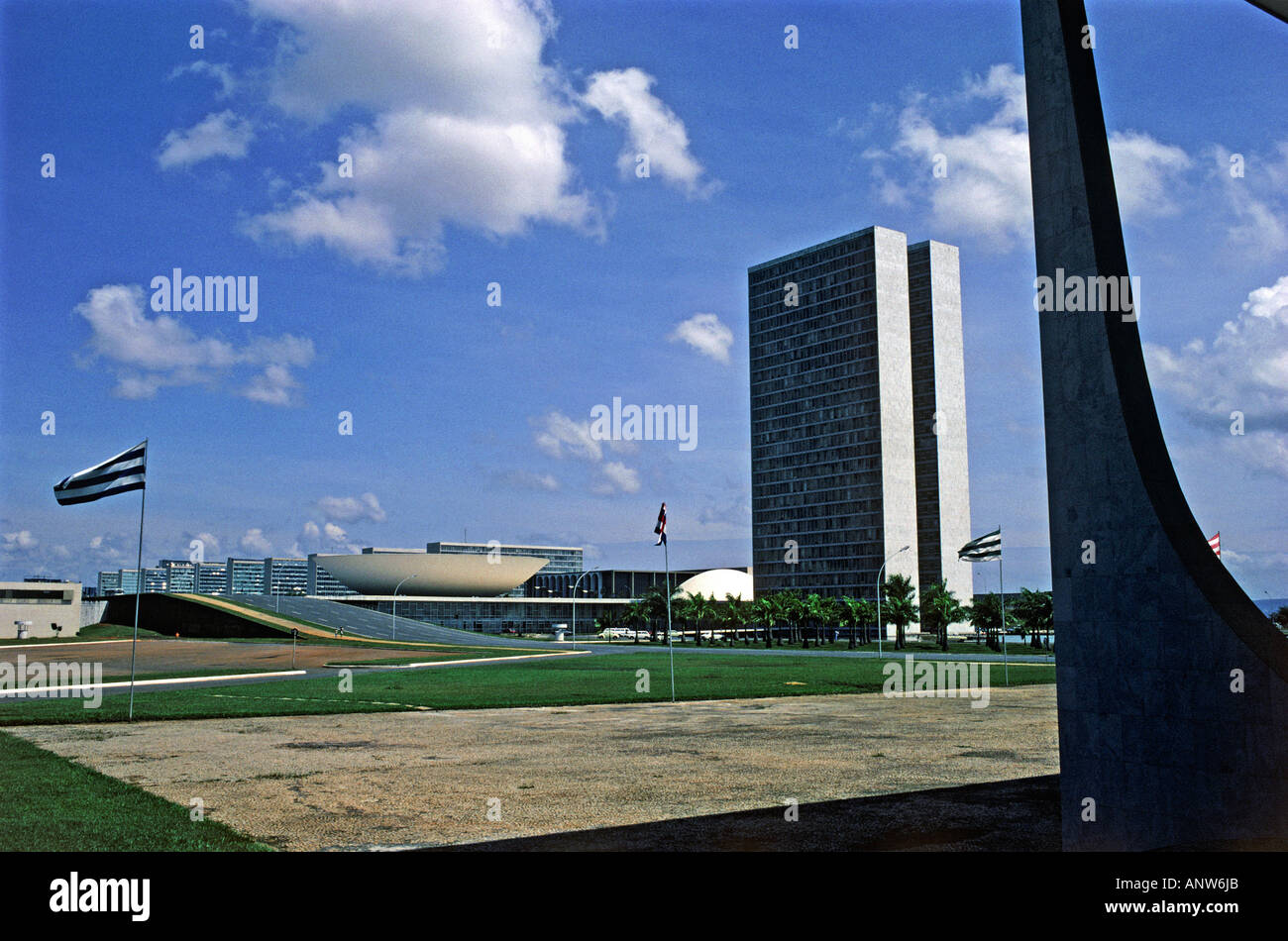 national congress building at praca dos tres podores square city of brasilia state of goias brazil - Stock Image