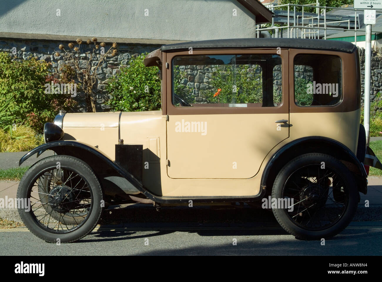 Austin 7 vintage car in two tone colours, cream and brown Stock ...