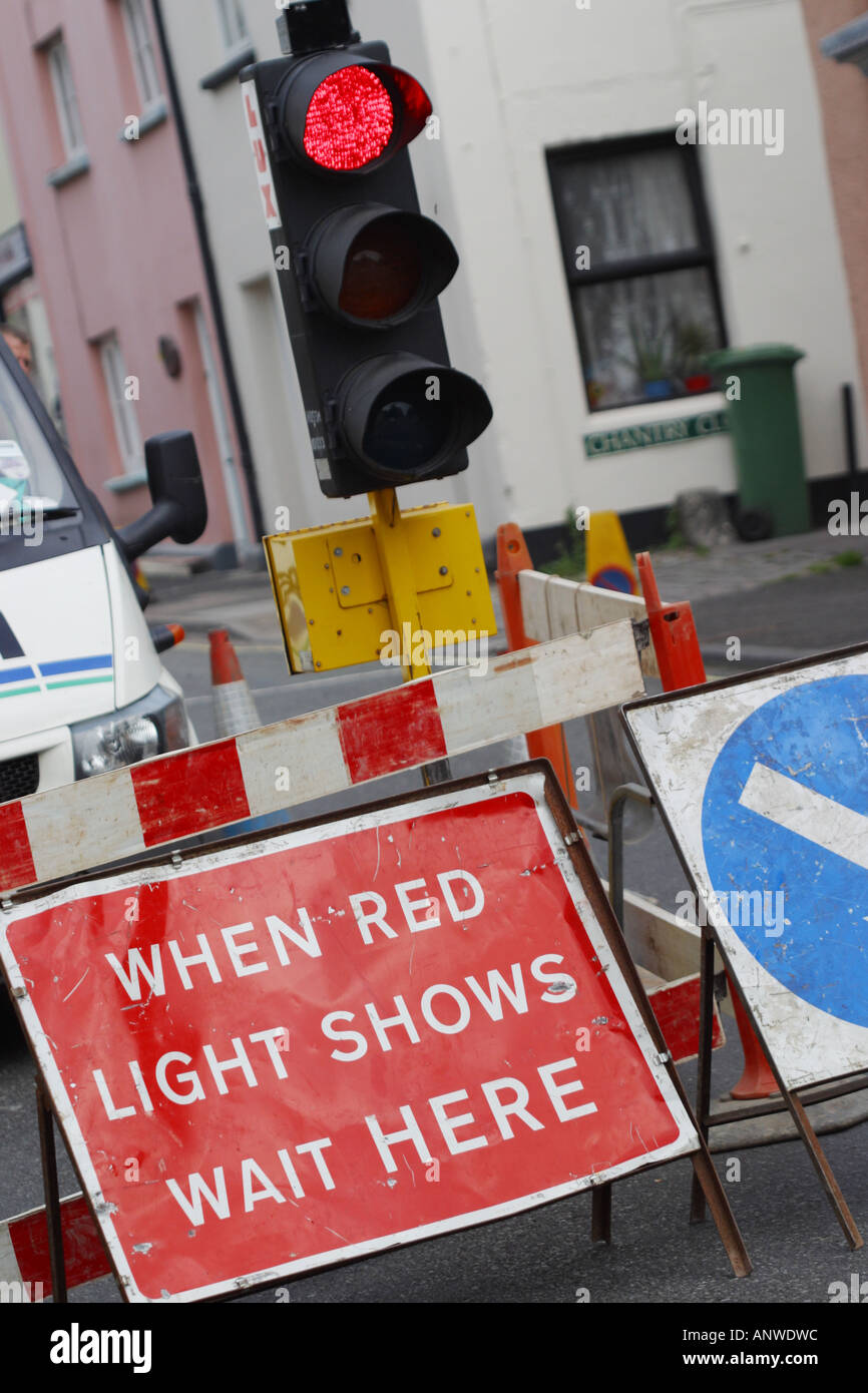 Road works traffic delays at temporary traffic lights - Stock Image