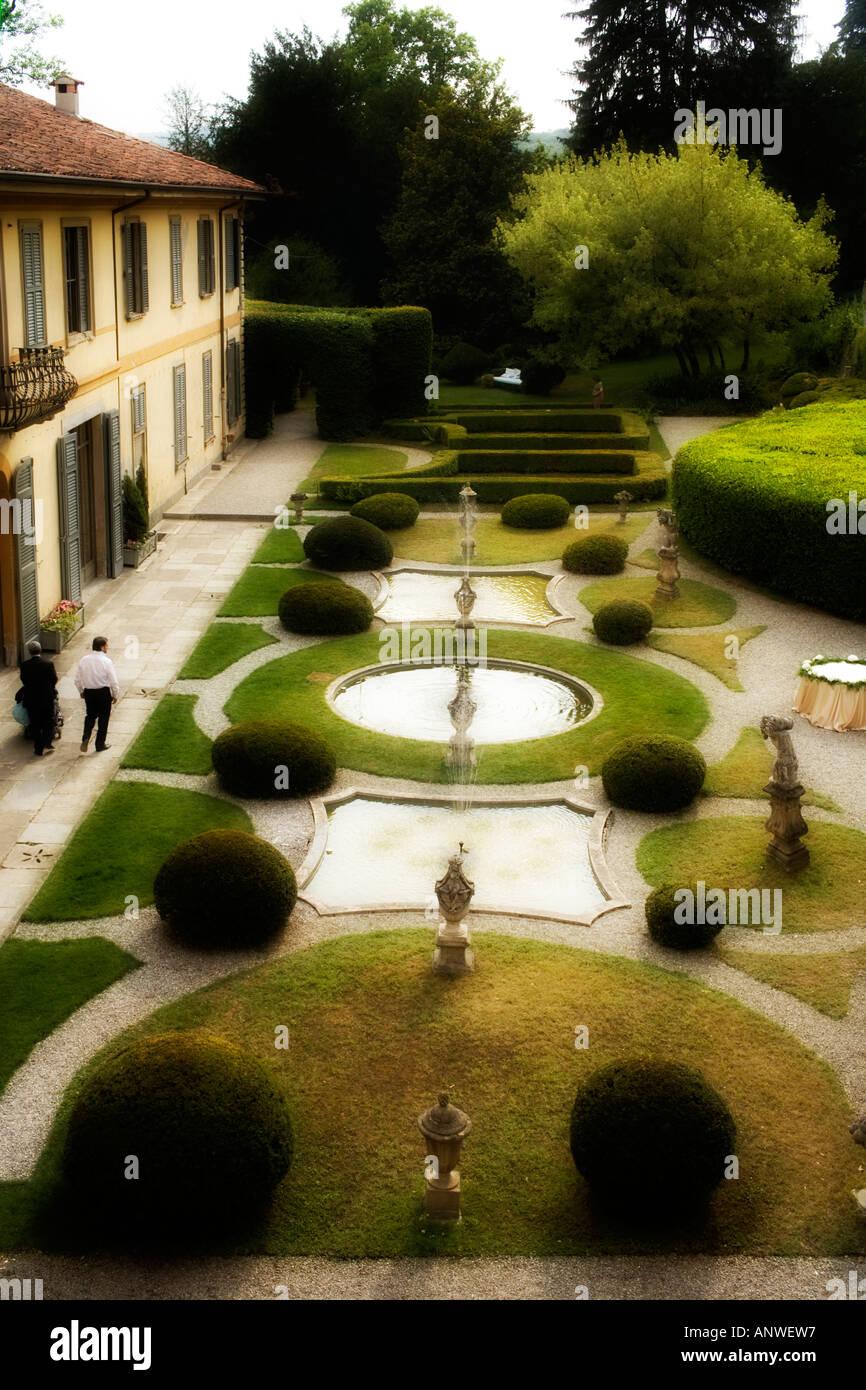 Classic Design Garden Of An Italian Style Villa Villa Stock Photo