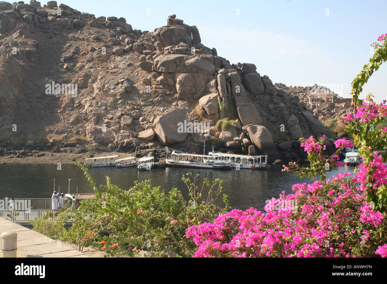 Felucca on the Water - View from Philae Temple [Agilkai Island, Near Aswan, Egypt, Arab States, Africa]. Stock Photo