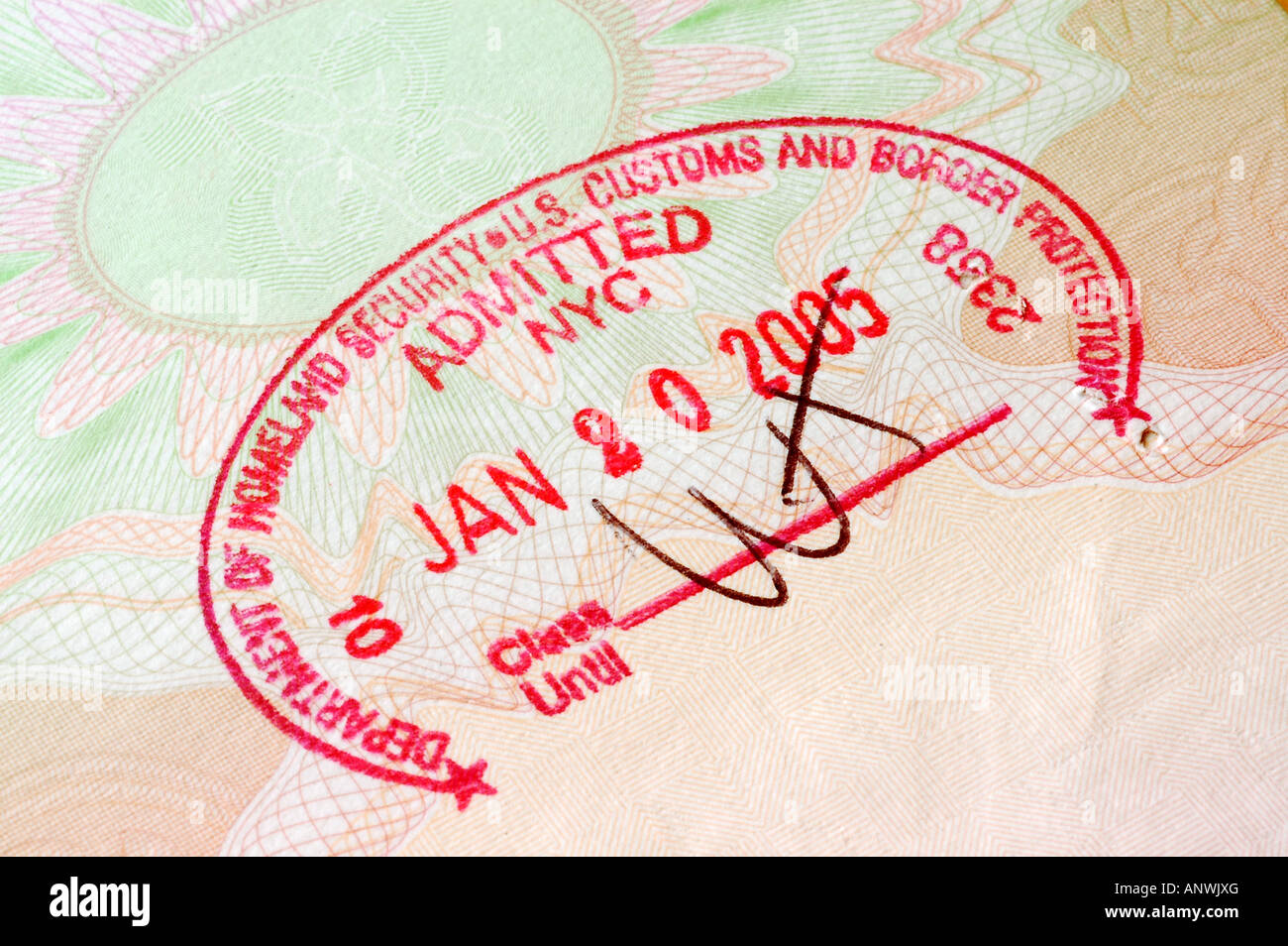 US Border Entry Stamp In Passport