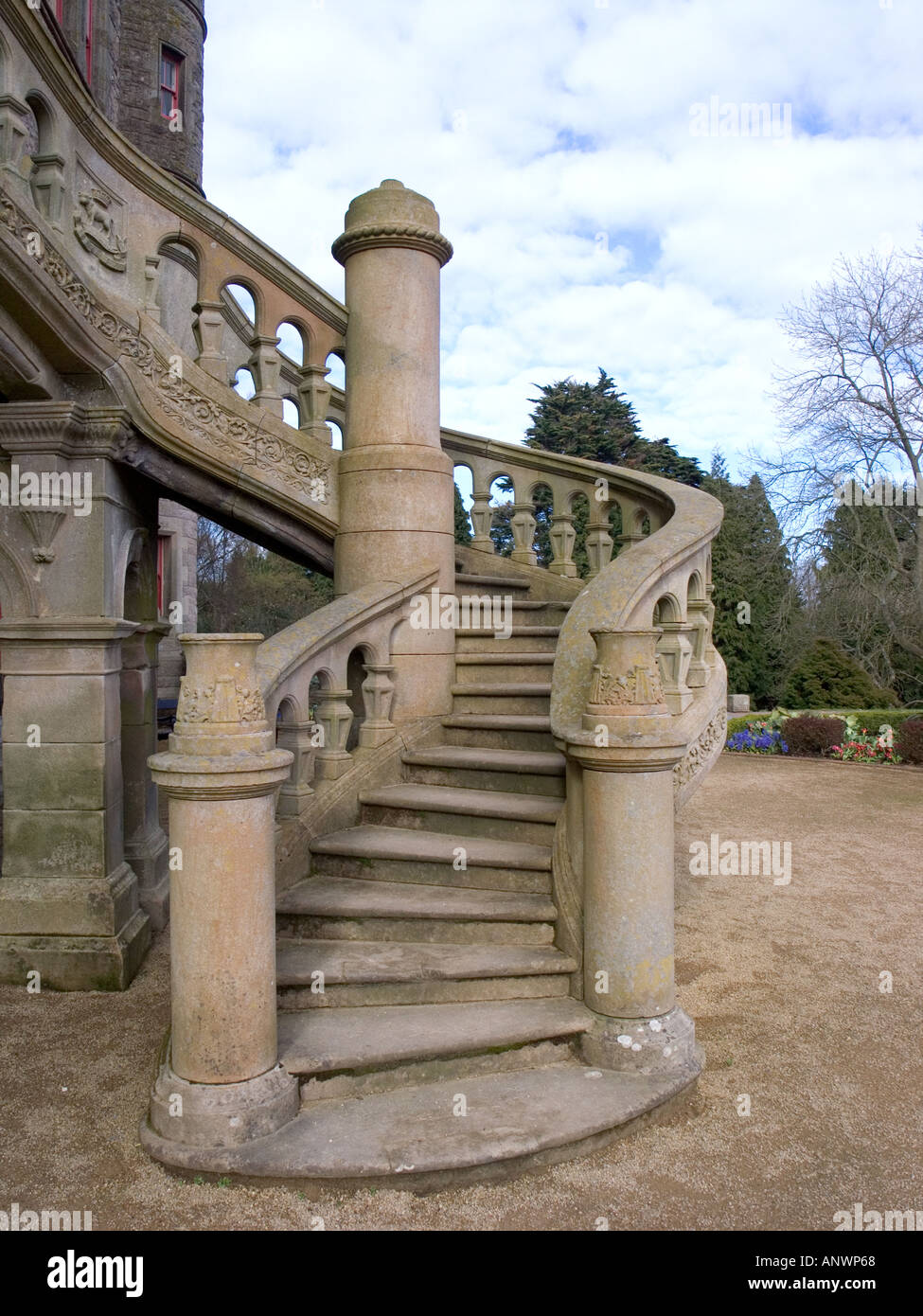 Italian style serpentine staircase Belfast Castle Cave Hill Antrim Northern Ireland UK - Stock Image