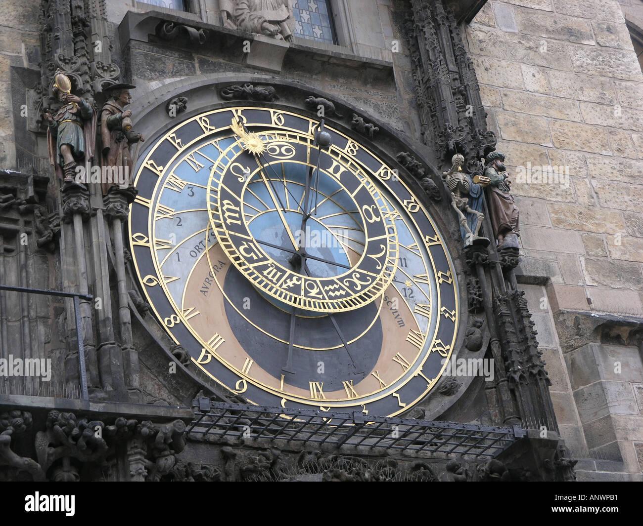 Astronomical Clock Old Town Square Prague Czech Republic Europe - Stock Image